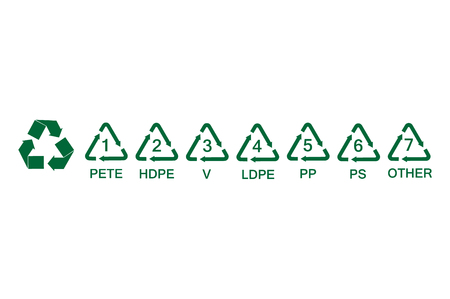 Vector Illustration Set Collection Green Plastic Recycling Symbols