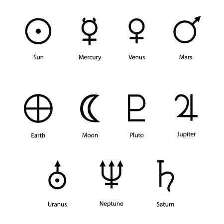 Vector illustratie planeet symbolen met namen. Sterrenbeelden en astrologie symbolen van planeten Stock Illustratie