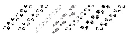 Vector illustration animal and birds footprints tracks icon set. Set foot prints wild animals, illustration of black silhouette. Illustration