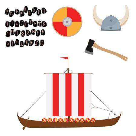 Viking set with helmet, axe, drakkar ship and shield raster icon isolated, scandinavian. Elder Futhark runes. Old Norse Scandinavian runes. Germanic letter. Alphabet Illustration