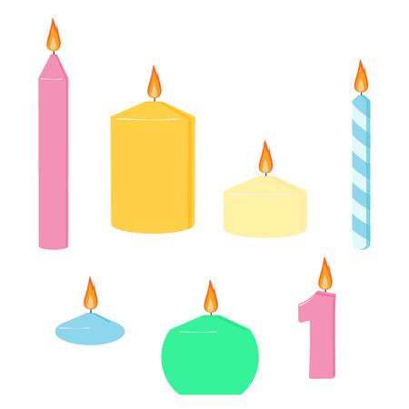 Set kaarsenstokken. Verschillende kaarslicht- en feestontwerpelementen Stock Illustratie