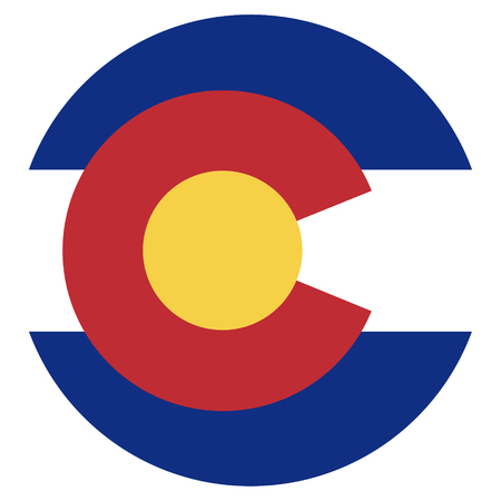 collins: Round Colorado state flag vector icon isolated on white background. USA Colorado state flag button