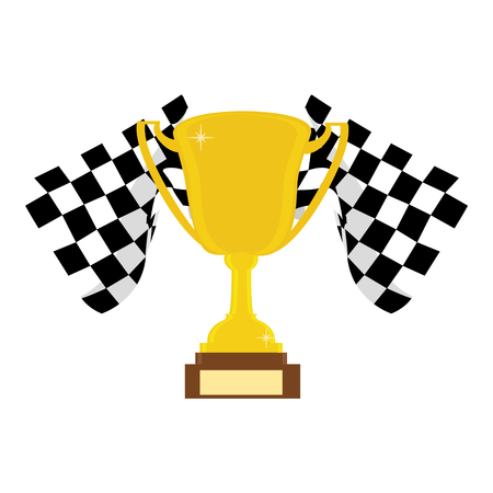 Vector illustration winner cup with crossed finish flags. First place concept Illustration
