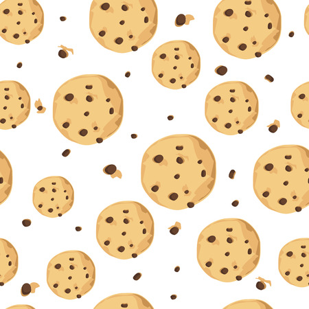 Raster illustration cute seamless pattern, background with chocolate chip cookie. Freshly baked choco cookie icon. Food pattern