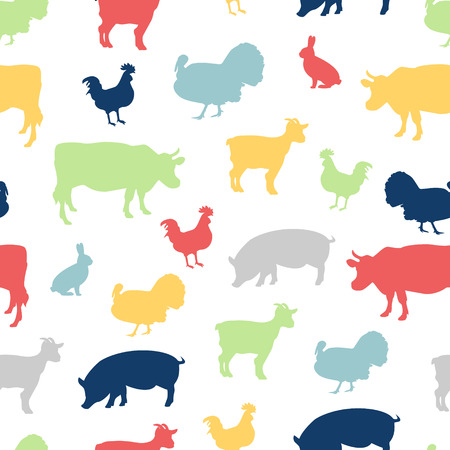Raster illustration colorful seamless pattern farm animals silhouette with cow, chicken, goat, rabbit and turkey.