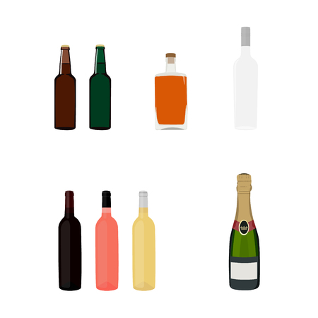Raster illustration set, collection of alcohol bottles. Alcohol drinks icons.