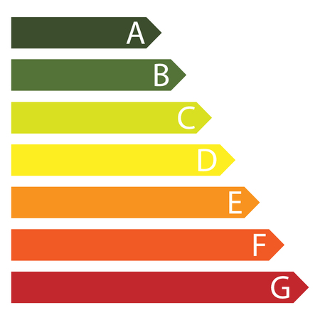 Raster illustration  energy efficiency rating from A to G.