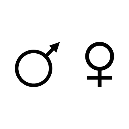 Raster Illustration Blue Male And Pink Female Symbol Set Gender