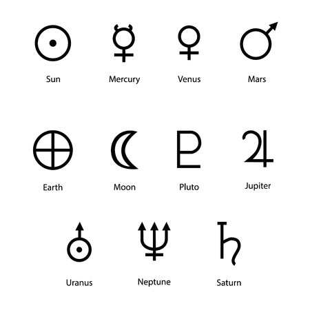 Raster Illustration Planet Symbols With Names Zodiac And Astrology
