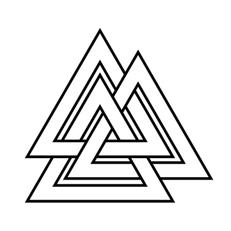 germanic people: Valknut symbol of the world end of the tree Yggdrasil. Sign of the god Odin. It refers to the Norse culture. Triangle. Viking Age symbol. Stock Photo