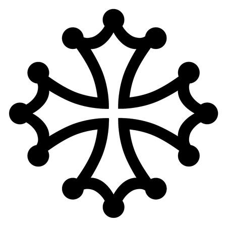 Raster illustratie zwart occitan kruisbeeld, symbolen of icoon.
