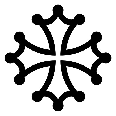 Raster illustration black occitan cross sign, symbols  or icon.