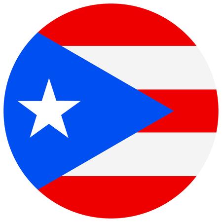 flagged: Raster illustration round Puerto Rico flag icon isolated on white background. Puerto-rico flag button Stock Photo