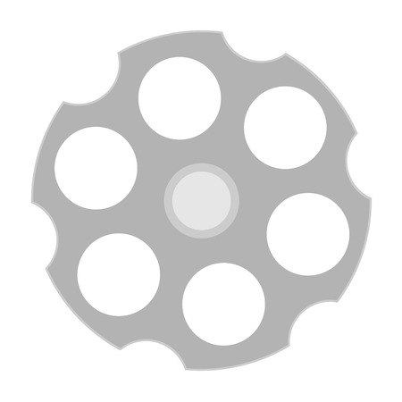 Raster illustration revolver cylinder icon. Cylindrical rotating part of a revolver with six chambers.
