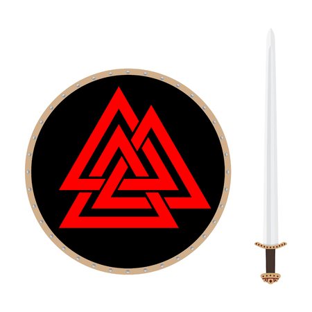 Valknut symbol of the world end of the tree Yggdrasil and viking sword. Sign of the god Odin. It refers to the Norse culture. Triangle. Viking Age symbol. Stock Photo