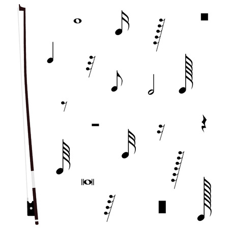 Raster Illustration Violin Bow Musical Notes And Pauses Black