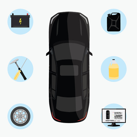checklist: Raster illustration car service infographics. Auto service and repair icons. Black car top view Stock Photo