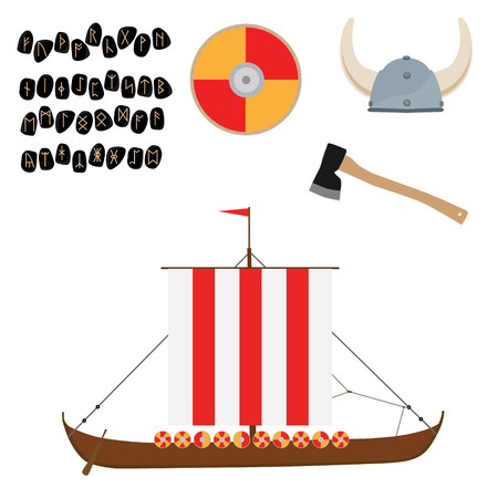 Viking set with helmet, axe, drakkar ship and shield raster icon isolated, scandinavian. Elder Futhark runes. Old Norse Scandinavian runes. Germanic letter. Alphabet Stock Photo