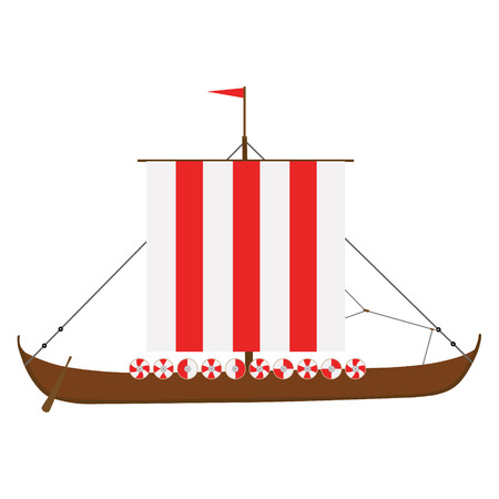 Raster illustration viking medieval drakkar ship isolated on white background. Warship