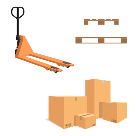 moving truck: Raster illustration pile of cardboard boxes isolated on a white background. Pallet jack. Wooden pallet. Stock Photo