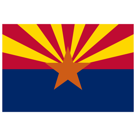 Rectangle Arizona state flag vector icon isolated on white background. USA Arizona state flag button