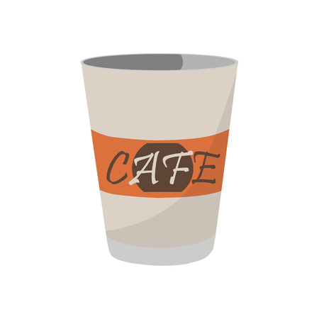 A Vector illustration disposable coffee cup icon for cafe and restaurant. Coffee cup logo  イラスト・ベクター素材