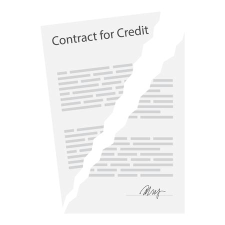 ベクトル図引き裂かれた終了した業務契約。白い背景上に分離。意見の相違の概念。ビジネス文書。契約を終了します。契約終了の概念。