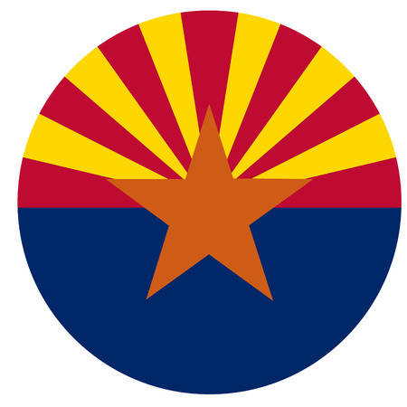 Round Arizona state flag vector icon isolated on white background. USA Arizona state flag button