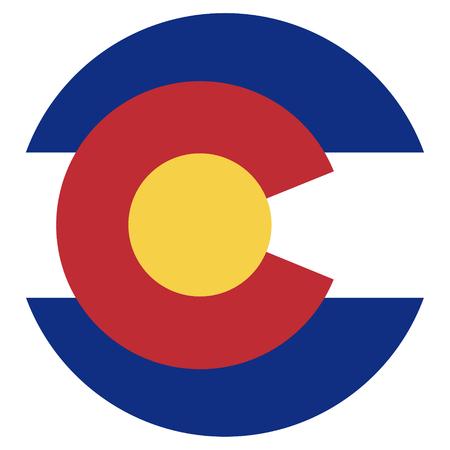 Icona di stato nazionale del Colorado State isolato su sfondo bianco. pulsante nazionale bandiera dello stato USA Archivio Fotografico - 83833175