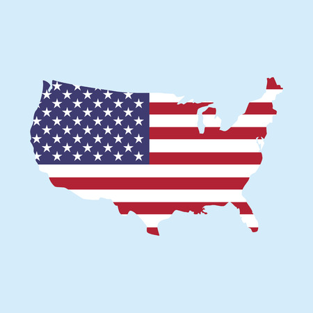 Vector illustration map of United States of America isolated on blue background. USA map flag icon