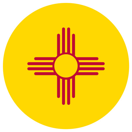 Round New Mexico state flag vector icon isolated on white background. USA New Mexico state flag button