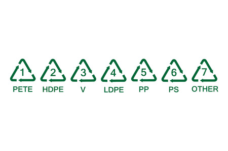 Raster illustration set, collection green plastic recycling symbols, signs, icons for different types of plastic material.