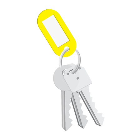 Raster illustration blank yellow tag and keys. Bunch of keys with keychain isolated on white background
