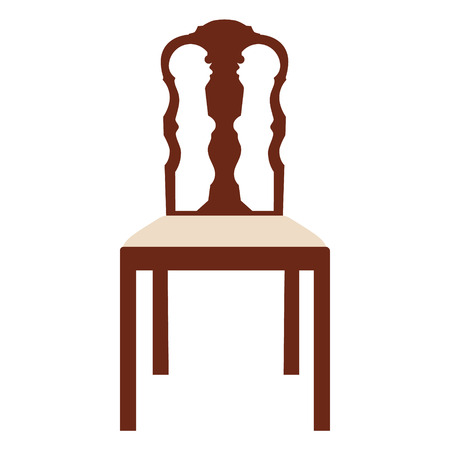 A Vector illustration vintage wooden white chair. Elegant realistic chair illustration.