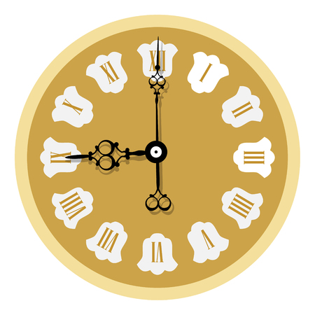 A Vector illustration elegant golden wall clock with vintage hour hand isolated on white background. Clock on wall shows eight oclock. Roman numeral clock