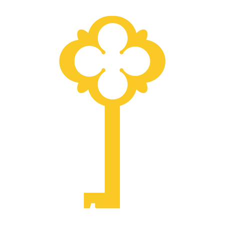 A Vector illustration of golden old key silhouette. Vintage key icon. Ornamental, medieval, ancient key Illustration