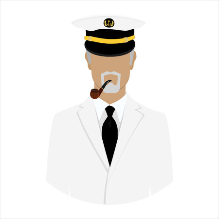 Vector illustration old sea captain with smoking pipe in white uniform. Sailor. Seaman Vector Illustration
