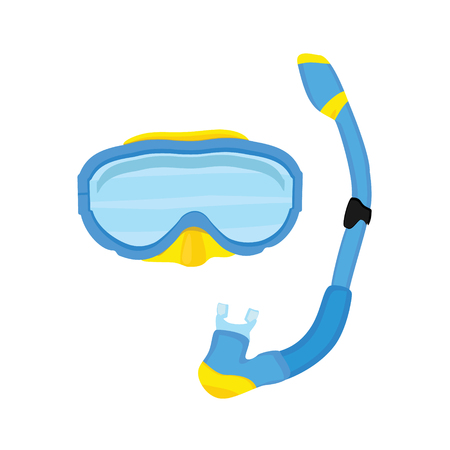 rubber tube: Vector illustration blue diving mask and snorkel isolated on white background. Diving equipment.