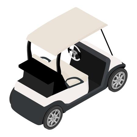 Vector illustratie van isometrische perspectief 3d witte golfkar. Golf auto Stock Illustratie