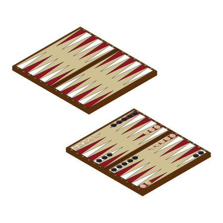 doubling: Vector illustration isometric backgammon wooden board and chips for game. Board game Illustration
