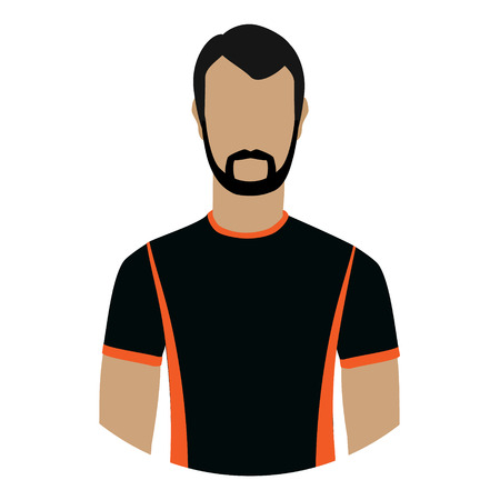 sleeve: A Vector illustration male, man avatar profile icon in black sport clothes.