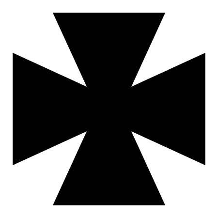 Vector illustration black sign Maltese cross icon isolated on white background. Illustration