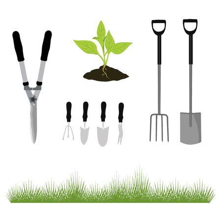green environment: Vector illustration set, collection garden tools and fresh green grass vector icon . Garden shovel, fork, cultivator and plant growing in the ground.
