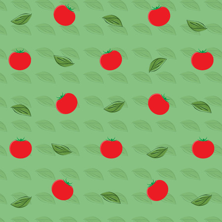 Raster illustration  pattern, background with tomato vegetable and basil leaves. Tomatoes