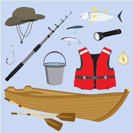 Raster illustration fishing icon set, collection. Fisherman equipment