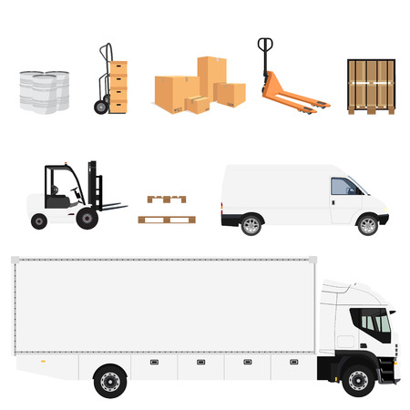 Delivery service icon set. Raster illustration pile of cardboard boxes. Hand truck. Delivery transport cargo truck and van. Wooden pallet and pallet jack