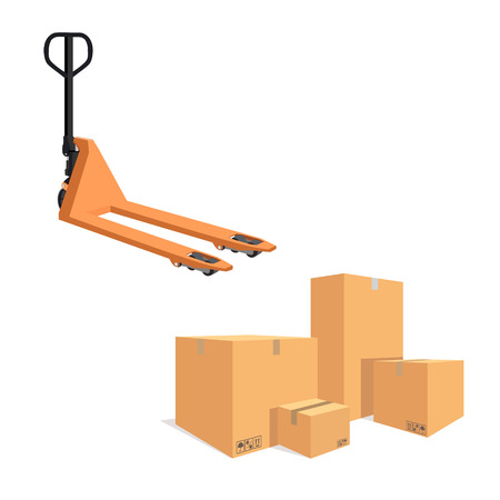 storage compartment: Raster illustration pile of cardboard boxes isolated on a white background. Pallet jack Stock Photo