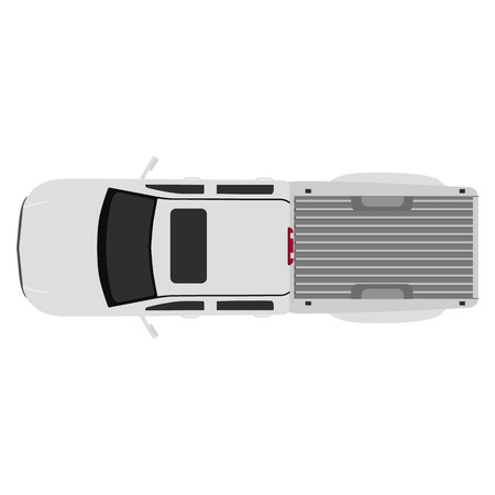 Raster illustration white pick up car, truck top view. Banco de Imagens