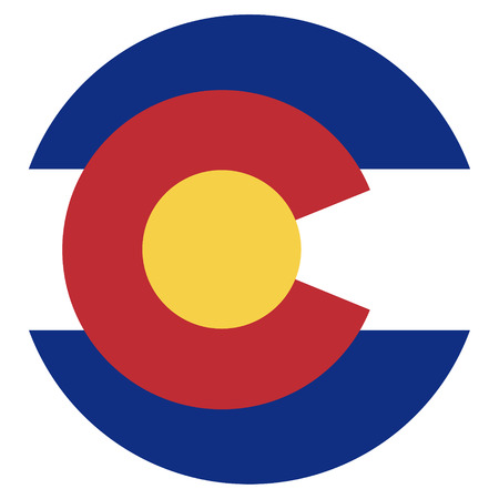 Round Colorado state flag raster icon isolated on white background. USA Colorado state flag button 版權商用圖片