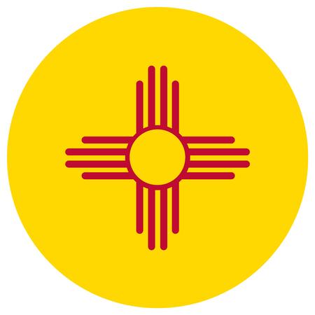 Round New Mexico state flag raster icon isolated on white background. USA New Mexico state flag button Stock Photo